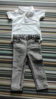 Spodnie jeansowe marmurki r.98