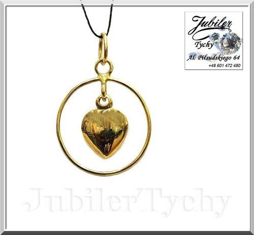 Złote serduszko w kółeczku złoty wisiorek serce w kole Jubiler Tychy Tychy - image 1