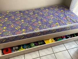 Single Wooden bed with toy tray + foam mattress
