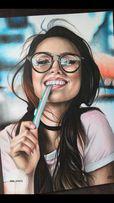 Портрет по фото карандашами