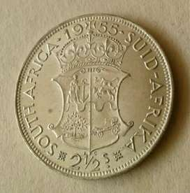 Top grade 1955 S.A silver 2 1/2 Shillings (almost uncirculated)