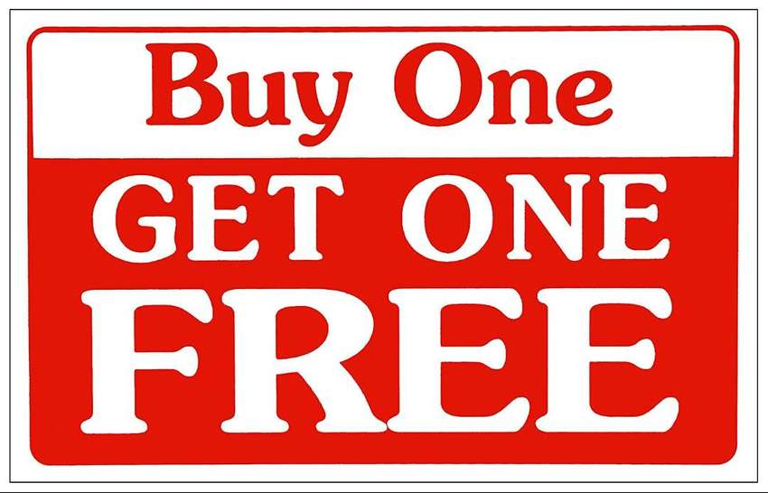 buy 1 and get 1 free!!! 0