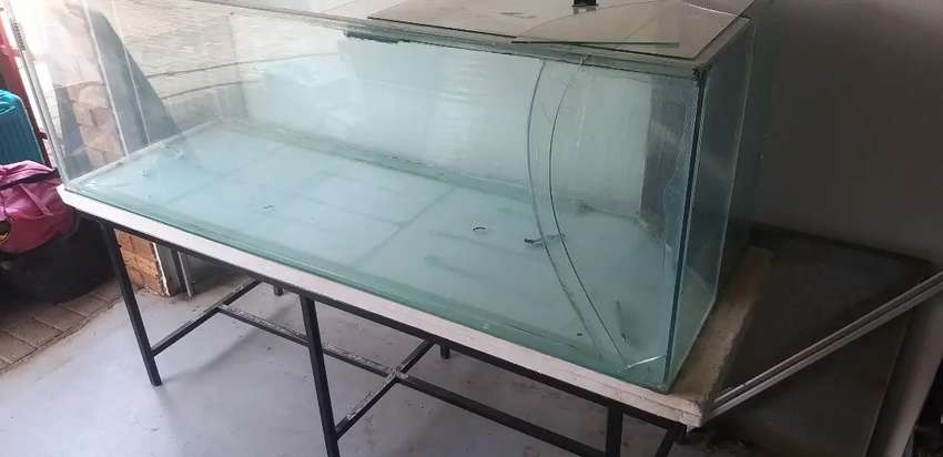 1.8m x 0.6m x 0.6m tank plus stand (front panel cracked but patched) 0
