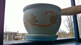 Керамический вазон для цветов горшок кашпо