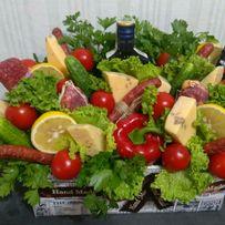 Букеты колбасные фруктовые