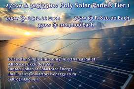 270w, 325w and 330w Poly Solar Panels
