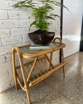 Cane and glass side table