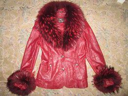 женская натуральная кожаная куртка курточка с натуральным мехом 44