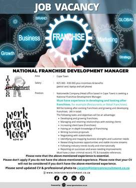 National Franchise Development Manager | Cape Town