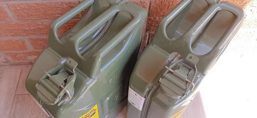 2x Green Steel Jerry Cans - as new