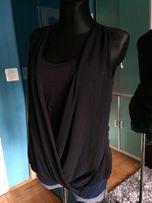 Czarna, elegancka bluzka bez rękawów