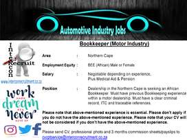 Bookkeeper (Motor Industry) Northern Cape