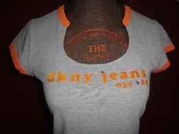 DKNY JEANS Donna Karan New York - szara koszulka bluzka tshirt r. M