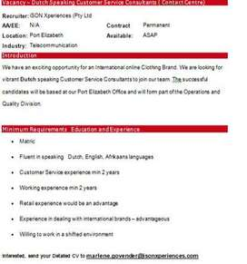 Vacancy – Dutch Speaking Customer Service Agents(Contact Centre)
