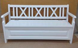 Скамейка, лавка деревянная белая с ящиком