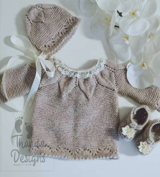 Newborn Handknitted Baby set with dress, bonnet and booties