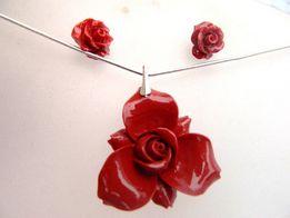 Czerwony koral i srebro, zestaw biżuterii