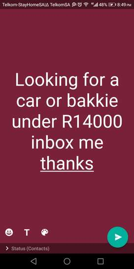 Looking ti buy a car or bakkie mosselbay R14000