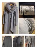 Пальто женское, р44-50, шерсть / ангора, песец, своб.крой
