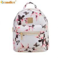 Рюкзак женский подростковый школьный белый Бабочки