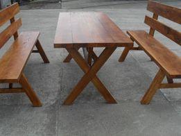 Stół Ogrodowy z Ławkami (NOWY)Jesionowy