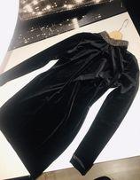 czarna aksamitna Sukienka półgolf Orsay jak Zara rozmiar s / xs