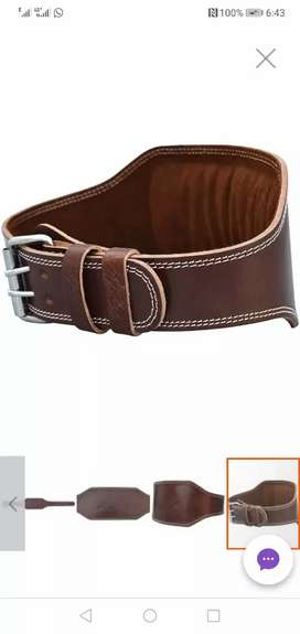Leather weight lifting back belt