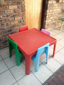 Kids plastic chairs and table for sale