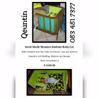 Image of Hand Made Wooden Bedside Baby Cot