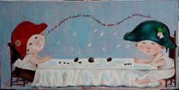 """Копия картины Гапчинской """"Разговор"""" 20х40 см, холст на картоне, акрил"""