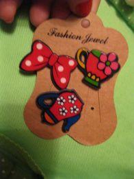 детские девочка пластик на кнопке значки брошка бантик чайник чашка