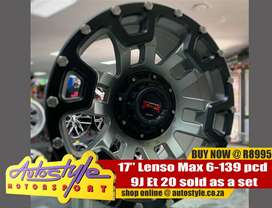 17inch Lenso Max 6-139 pcd 9j Et 20 sold as a set of four R8995 exclud