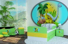 Łóżko dla dziecka, dziecięce z szuflada i motywem dinozaura