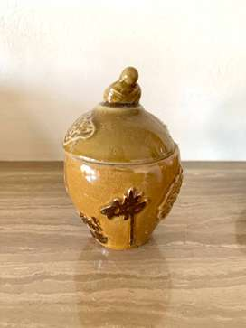 Oriental Mustard Coloured Container with Lid