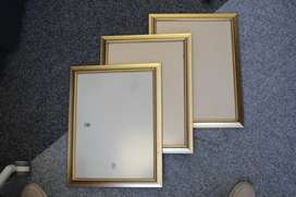 3 Gold Banded Picture Frames with Glass