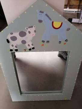 Unusual Children's Mirror with a Cow and a Horse painted