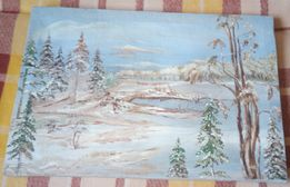 Stary obraz olejny na płótnie ze strychu -las zimą