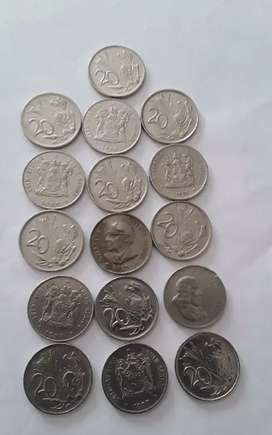 Old South African 20c pieces
