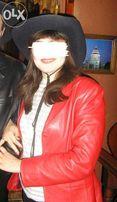 женский красный кожаный пиджак (жакет)