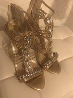 Złote sandałki biżuteryjne River Island kamienie,cyrkonie nowe
