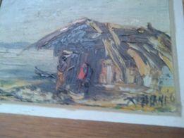 Stary obraz olejny 24x24 Tanio, nowa cena