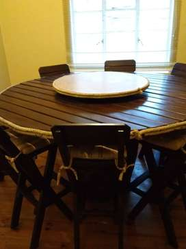 Rodesian teak table and stools