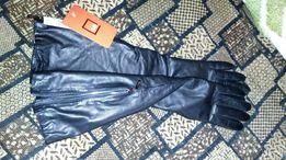 Перчатки длинные с замками из натуральной кожи новые