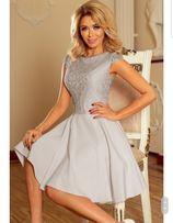 Sukienka rozkloszowana z koronką szara M/L 38