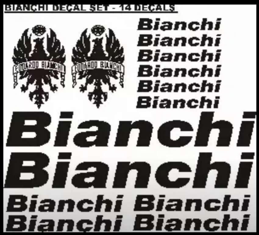 Bianchi bicycle frame and rim decals stickers sets