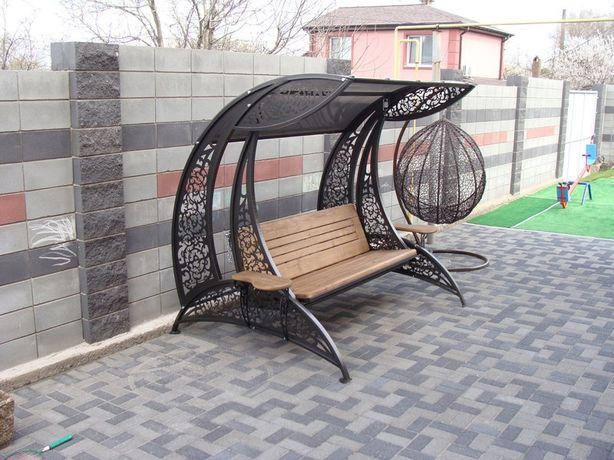Качели садовые декоративные. Кованные качели черного цвета. Днепр - изображение 4