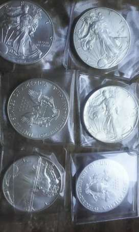 Six silver USA one dollar coins