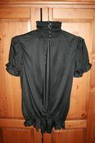 Czarna elegancka bluzka z rozcięciem na plecach, XS/M, gotycka