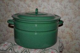 Большая эмалированная кастрюля для консервации 20 л
