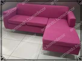 New pink fabric modern corner couch with metal legs